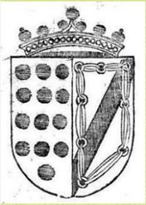 En campo de plata, a la derecha una banda negra y cadena de oro de los Zúñiga, y a la izquierda 13 roeles dorados sobre azul de los Dávila.