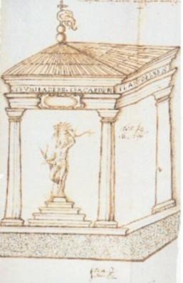 Dibujo proyecto de los Cuatro Postes. Francisco de Arellano. 1566