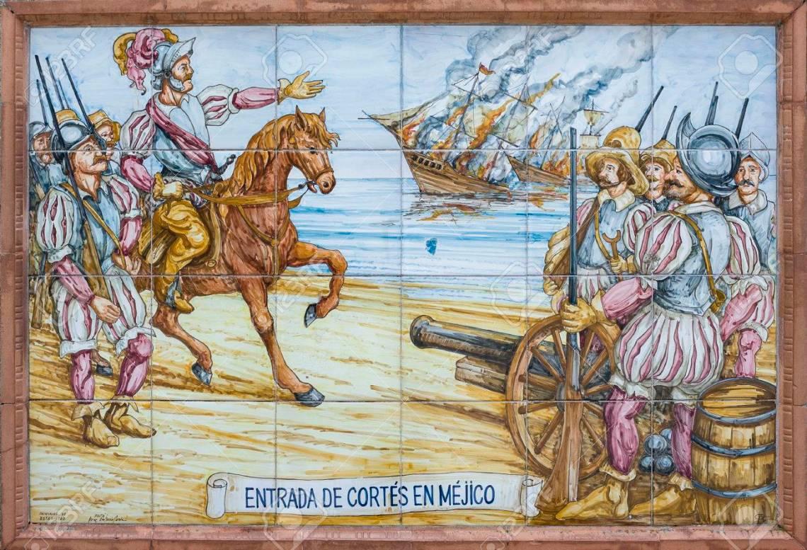 Hernan Cortes burning the ships
